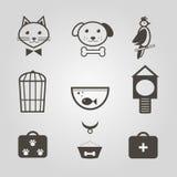 De pictogrammen van huisdieren Reeks monosymbolen voor dierenwinkel Vector illustratie Stock Foto