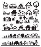 De pictogrammen van huizen Royalty-vrije Stock Afbeeldingen