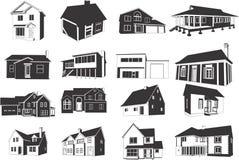 De pictogrammen van huizen Royalty-vrije Stock Foto