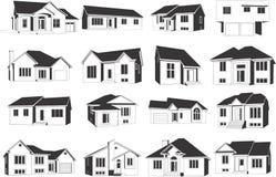 De pictogrammen van huizen Stock Fotografie