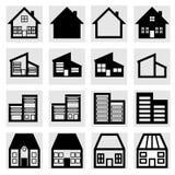 De pictogrammen van huizen Stock Afbeeldingen