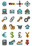 De pictogrammen van Internet en van busines Vector Illustratie