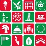De pictogrammen van Italië Stock Afbeeldingen