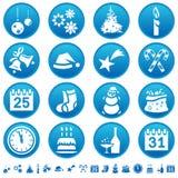 De pictogrammen van Kerstmis & van het Nieuwjaar Stock Afbeeldingen