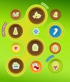 De pictogrammen van Kerstmis in cirkels. Royalty-vrije Stock Afbeeldingen