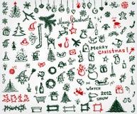 De pictogrammen van Kerstmis, schetstekening voor uw ontwerp Stock Foto's