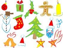 De pictogrammen van Kerstmis trekken door een kind Royalty-vrije Stock Afbeelding