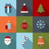 De pictogrammen van Kerstmis Vlakke vectorillustratie Royalty-vrije Stock Fotografie