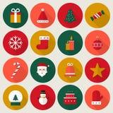 De pictogrammen van Kerstmis Vlakke vectorillustratie Royalty-vrije Stock Foto's