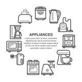De pictogrammen van keukentoestellen in een cirkelsamenstelling in de stijl die van de lijnkunst wordt gemaakt stock illustratie