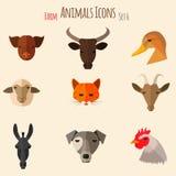 De Pictogrammen van landbouwbedrijfdieren met Vlak Ontwerp Stock Afbeeldingen