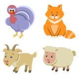 De Pictogrammen van landbouwbedrijfdieren op Witte Achtergrond in Vlakke Stijl Stock Fotografie