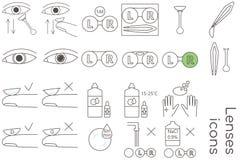 De pictogrammen van de lenzenzorg royalty-vrije illustratie