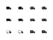 De pictogrammen van leveringsvrachtwagens op witte achtergrond. Stock Foto's