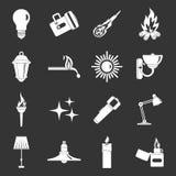 De pictogrammen van lichtbronsymbolen geplaatst grijze vector Stock Afbeeldingen