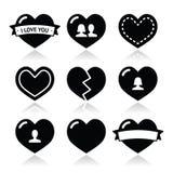 De pictogrammen van liefdeharten voor Valentijnskaartendag die worden geplaatst Royalty-vrije Stock Foto's