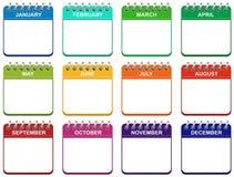 De pictogrammen van de maandkalender geplaatst illustratie EPS stock illustratie