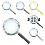 De pictogrammen van Magnifier Royalty-vrije Stock Foto's