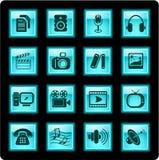 De pictogrammen van media Royalty-vrije Stock Afbeeldingen