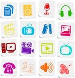 De pictogrammen van media Stock Foto's