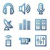 De pictogrammen van media, blauwe reeks Stock Fotografie