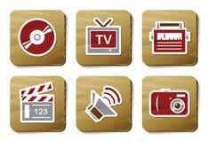 De pictogrammen van media | De reeks van het karton Stock Afbeeldingen