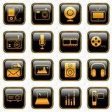 De pictogrammen van media - gouden reeks Stock Afbeeldingen