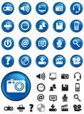 De pictogrammen van media op Blauwe knopen royalty-vrije stock afbeelding