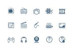 De pictogrammen van media | piccolofluit reeks Stock Afbeelding