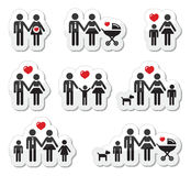 De pictogrammen van mensen - familie, baby, zwangere vrouw, coupl Stock Foto