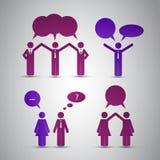 De Pictogrammen van mensen met Toespraakbellen Stock Foto