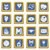 De pictogrammen van de moederdag geplaatst blauwe vierkante vector Stock Foto's