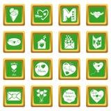 De pictogrammen van de moederdag geplaatst groene vierkante vector Stock Foto