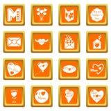 De pictogrammen van de moederdag geplaatst oranje vierkante vector Stock Foto