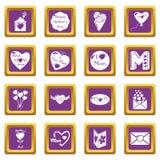 De pictogrammen van de moederdag geplaatst purpere vierkante vector Stock Afbeelding