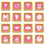 De pictogrammen van de moederdag geplaatst roze vierkante vector Royalty-vrije Stock Afbeelding
