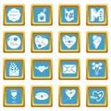 De pictogrammen van de moederdag geplaatst sapphirine vierkante vector Stock Afbeelding