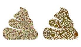 De Pictogrammen van mozaïekshit van Reparatiehulpmiddelen royalty-vrije illustratie