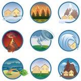 De pictogrammen van natuurrampen Stock Afbeeldingen