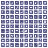 100 de pictogrammen van Noord-Amerika geplaatst grunge saffier Royalty-vrije Stock Foto's