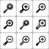 De Pictogrammen van onderzoeksmagnifier Stock Illustratie
