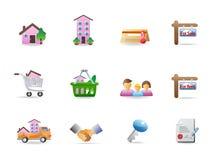 De pictogrammen van onroerende goederen Stock Afbeeldingen