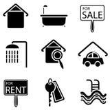 De pictogrammen van onroerende goederen Royalty-vrije Stock Foto's