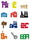 De pictogrammen van onroerende goederen Royalty-vrije Stock Afbeeldingen
