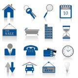 De pictogrammen van onroerende goederen Stock Foto's