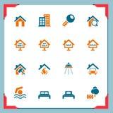 De pictogrammen van onroerende goederen | In een frame reeks Stock Afbeelding