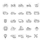 De pictogrammen van de openbaar personenvervoerlijn Geplaatste auto's en voertuigen Vervoer en verschepende geïsoleerd overzichts stock illustratie