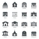 De pictogrammen van overheidsgebouwen Stock Foto's