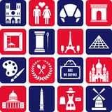 De pictogrammen van Parijs Stock Afbeeldingen