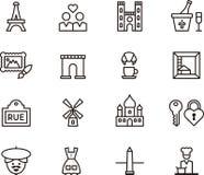 De pictogrammen van Parijs en van Frankrijk Royalty-vrije Stock Foto